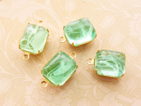 Vintage Peridot Green Swirl 12x10mm Octagon Glass Set Stones Etsy