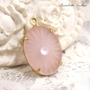 10x8mm Pink Opal Faceted Glass Oval Stone in 1 Loop Setting