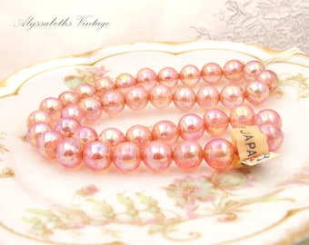 Vintage Pink AB Rose Transparent 10mm Round Glass Beads, Japanese Pressed Glass Orb Beads - 16