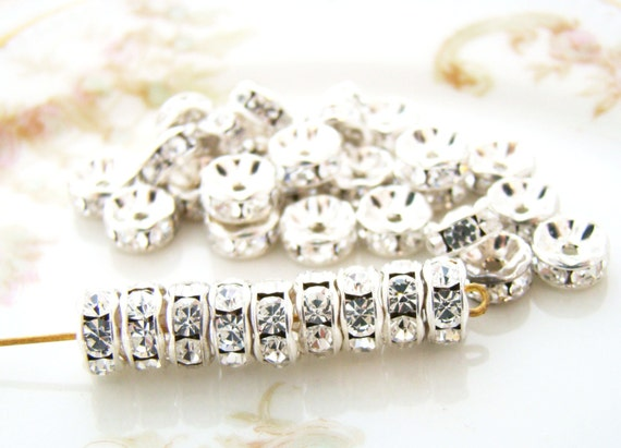 Gift Wholesale SP Rhinestone Rondelle Spacer Beads Findings 5mm