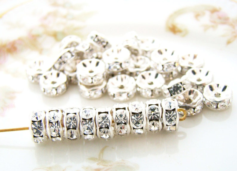 30 Silver Plated 8mm x 3mm Rondelle Spacer Beads with Glass Crystal Rhinestones