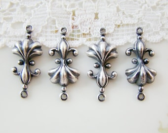 Antiqued Silver Ox Plated Fleur de Lis & Shell Connectors Stampings Oxidized Silver - 4