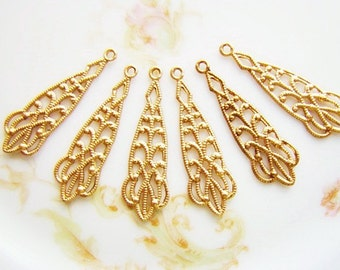 Victorian Lacey Filigree Raw Brass Earring Dangles Drops Charms 30x9mm Findings - 6