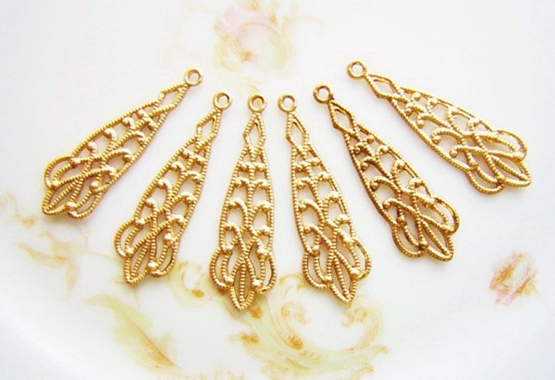 Antiqued Brass Victorian Drops Earring Findings 8