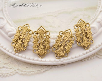 Ornate Lacey Raw Brass Filigree Connectors Links Rectangle 21mm - 6