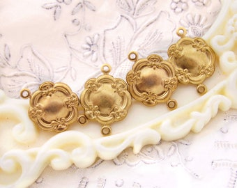 Ornate Floral Victorian Raw Brass Connectors 19x14mm - 6