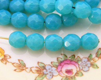 Czech Glass Faceted Milky Carribean Blue Opal 8mm Coated Beads - 20