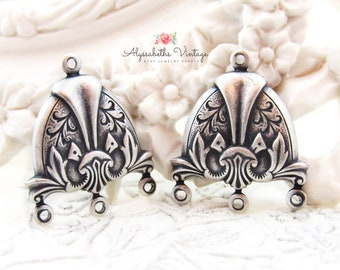 Ornate Art Deco Antique Silver Vine Embossed Chandelier Earring Finding, 23x20mm Silver Ox Stylized Floral Multi Strand Connector - 4