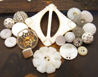 Vintage Chic White Glass Rhinestone and Mother of Pearl Button & Buckle Destash Mix – 20