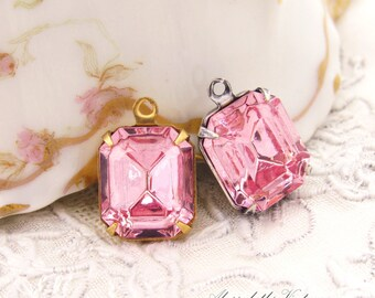 Vintage Swarovski Light Rose Pink 12x10mm Octagon Faceted Glass Set Stones in Black, Antique Silver or Brass Drop or Connector Settings - 2
