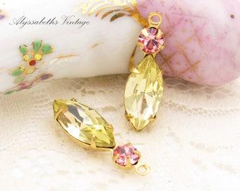 Vintage Swarovski Jonquil Navette & Light Rose Rhinestone 1 Ring Earring Dangles Antique Silver or Brass Drops Charms 23x7mm - 2