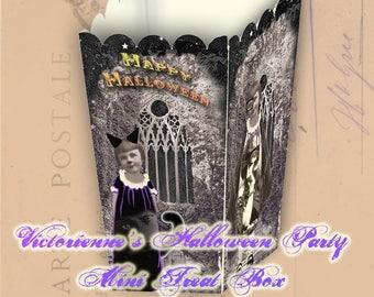 Mini Halloween Treat Box - Victorienne's Halloween Party - Printable Mini Favor Box - Mini Candy Box - Mini Popcorn Box