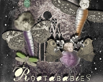 Rootababies - Digital Collage Sheet - Creepy Flying Root Creatures - Doll Face Characters - Oddities - Curiosities - Halloween Clip Art