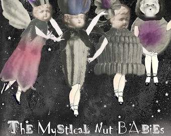 Mystical Nut Babies - Digital Collage Sheet - Paper Doll Children Dressed in Nuts, Pods and Blossoms - Spring Clip Art - Paperdoll Garland