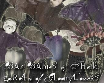 Bat Babies & Their Garden of Gloomflowers - Digital Collage Sheet - Digital Oddities - Cute but Spooky Images - Halloween Clip Art - Garland