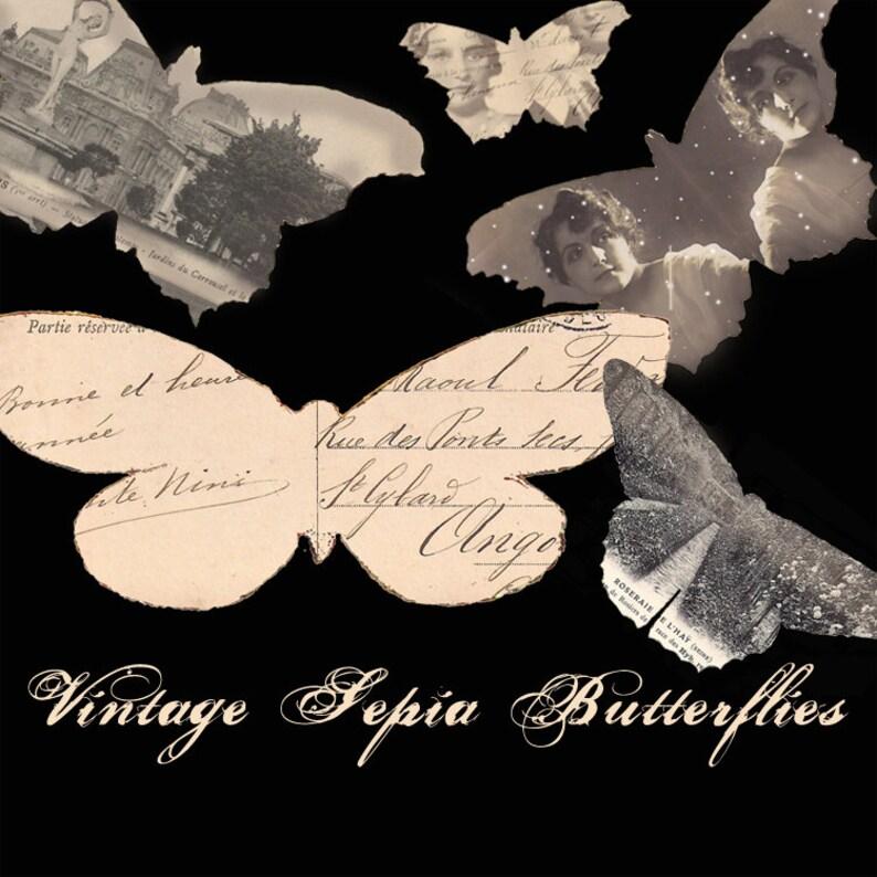 Vintage Sepia Butterflies  Digital Collage Sheet  Halloween image 0