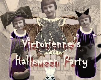 Victorienne's Halloween Party - Digital Paper Dolls - Instant Download - Paper Doll Clip Art - Halloween Clip Art - Paperdoll Garland
