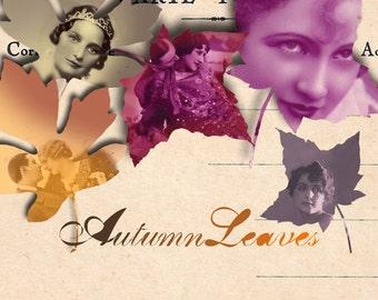 Autumn Leaves Digital Collage Sheet - Fall Decorations - Scrapbooking - Autumn Clip Art - Autumn Leaf Garland