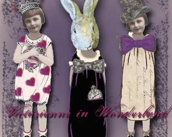 Victorienne in Wonderland - Alice in Wonderland Digital Paper Dolls - Through the Looking Glass - Clip Art - Paperdoll Garland