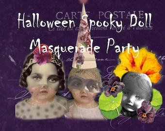 Spooky Doll Masquerade Party - Halloween - Digital Collage Sheet - Instant Download - Halloween Clip Art - Halloween Garland