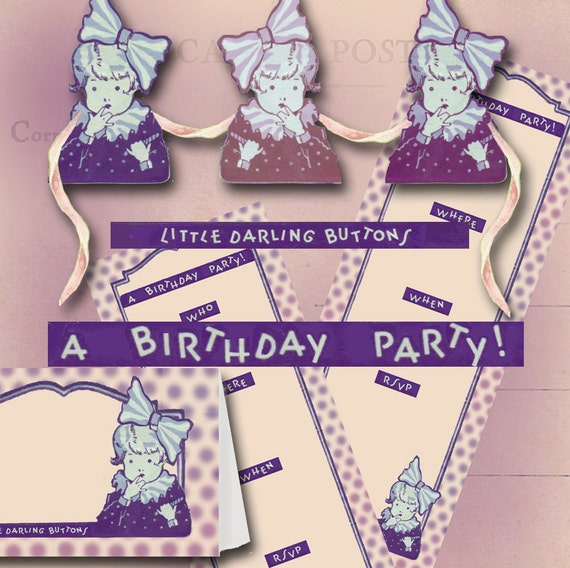 Birthday Party Invitation Kit Including Placecards And Banner