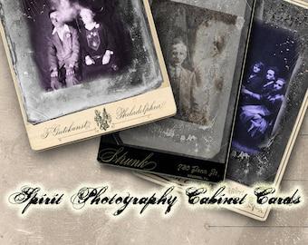 Spirit Photography Cabinet Cards Digital Collage Sheet - Halloween Clip Art - Altered Art - Digital Oddities - Ghosts - Digital Curiosities