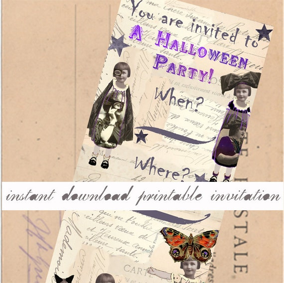 halloween instant download party invitation printable etsy