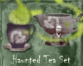 Haunted Tea Set - Digital Collage Sheet - Halloween  - Spirit Photography - Ectoplasm - Paranormal - Halloween Clip Art - Spooky Tea Garland
