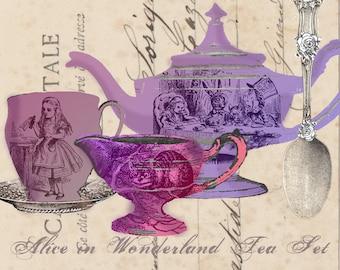 Mad Tea Party Digital Tea Set - Alice in Wonderland - Digital Collage Sheet - Through the Looking Glass - Clip Art - Tea Party Garland