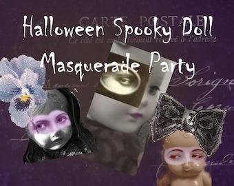 Halloween Spooky Doll Masquerade Party -  Digital Collage Sheet - Instant Download - Halloween Clip Art - Halloween Garland