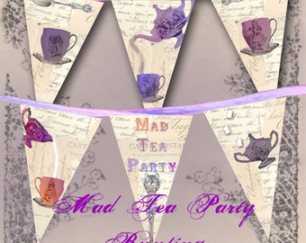 Mad Tea Party Bunting - Alice in Wonderland Garland - Printable Banner - Instant Download - Through the Looking Glass