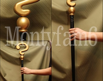 RIDDLER CANE GOLD Black SMOOTH Question Mark Costume Prop Cosplay Comic Con