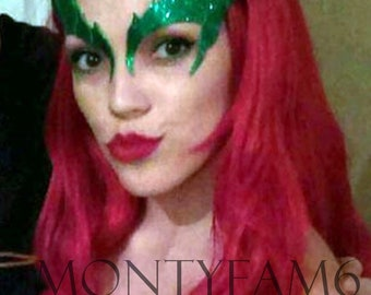 poison ivy leaves eyebrow eye mask emerald glitter green cosplay comic con uma thurman elf fairy