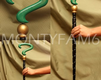 Riddler Cane Arkham City Asylum SOLID WOOD Question Mark Cosplay Comic Con