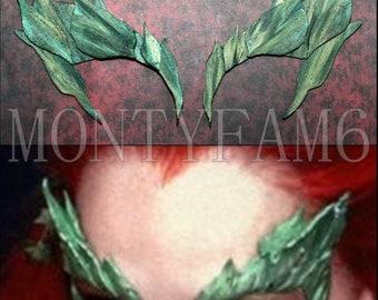 Poison Ivy Leaves Eyebrow Eye mask Green Blend Dusted w/ GLITTER Leaf Uma Thurman Elf fairy cosplay comic con