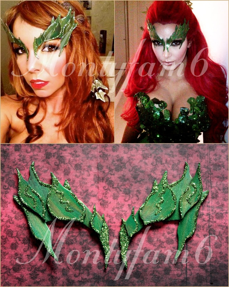 Poison Ivy Mask Leaves Green W Glitter Trim Leaf Costume Uma Etsy