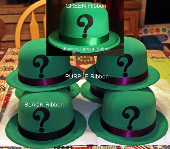 The Riddler Style Green Plastic Bowler Hat