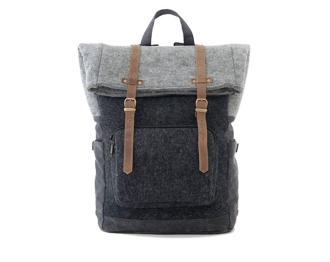 CITYCARRY / Wool Felt Laptop Backpack / Travel Backpack / School Backpack / Black / Wool Felt