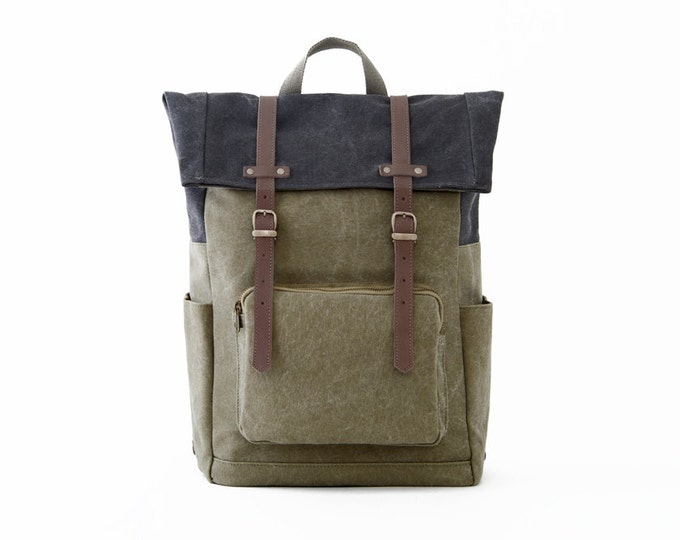 CITYCARRY / Wool Felt Laptop Backpack / Travel Backpack / School Backpack / Green / Canvas