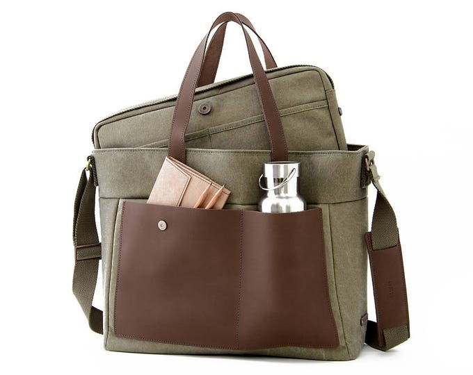 "LOFT / Diaper Tote Bag / 13"" Laptop Bag / Green / Canvas"