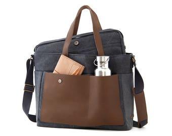 """LOFT / Diaper Tote Bag / 13"""" Laptop + School Bag / Gray Canvas"""
