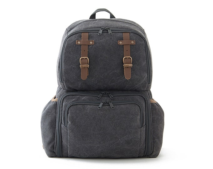 FIT / Unisex Diapers Bag Backpack / School + Travel Backpack / Gray Canvas