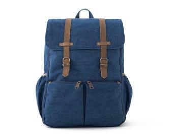 CARRYALL / Unisex Diapers Bag Backpack / School + Travel Backpack / Blue Denim