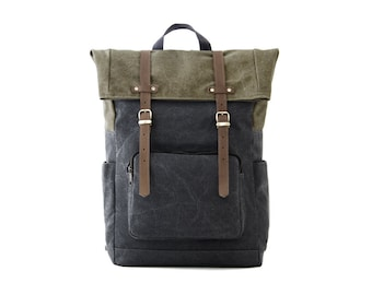 Laptop Bag Backpack, School Backpack, Travel Bag, Canvas Backpack, backpack Men, laptop bag women, gift for him, GRAY CANVAS / CITYCARRY
