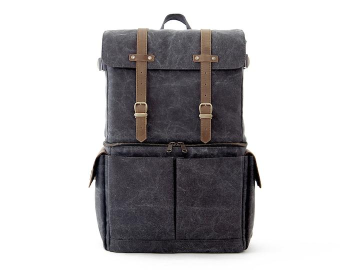 JOURNEYMAN / Camera + Laptop Backpack / Gray Canvas