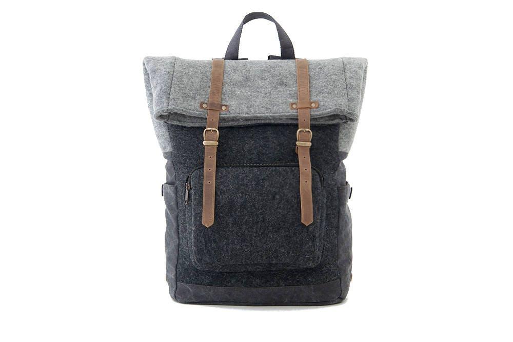 CITYCARRY / Wool Felt Laptop Backpack / Travel Backpack / School