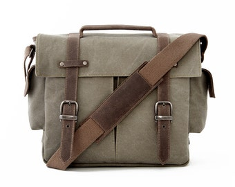 TRIAL / Messenger Camera + Daily Bag / Green Canvas