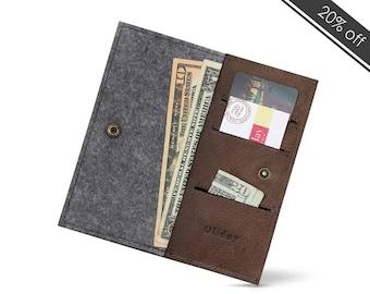 Buy 100% Wool FELT & Leather W1026 Bifold Wallet Online