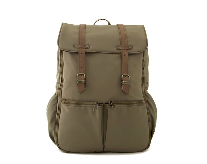 CARRYALL / Unisex Diapers Bag Backpack / School + Travel Backpack / Khakis Green Nylon