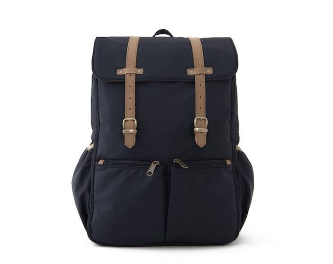 CARRYALL / Unisex Diapers Bag Backpack / School + Travel Backpack / Black Nylon